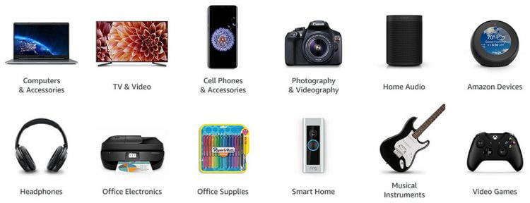 Amazon electronics categories