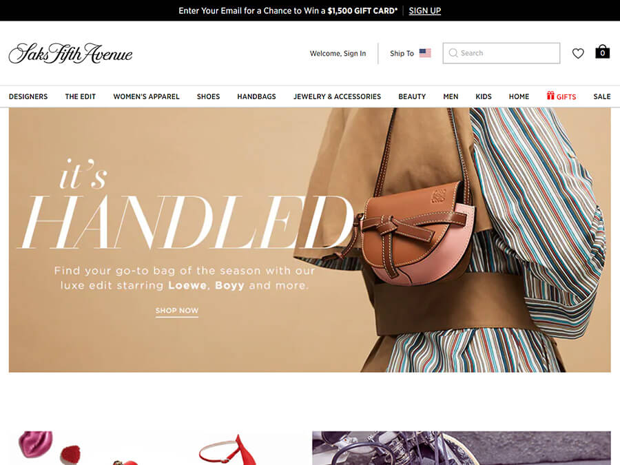 Saks Fifth Avenue screenshot