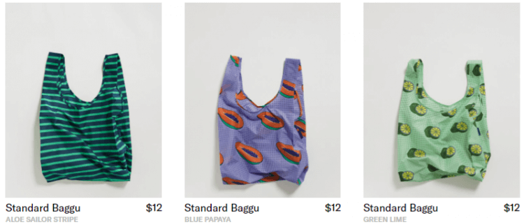 Sustainable reusable bags by Baggu
