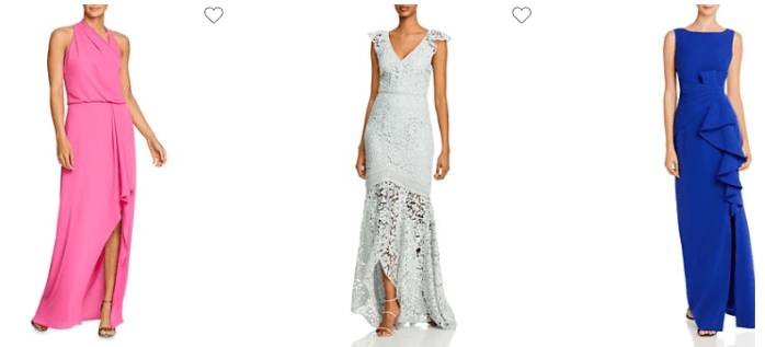Designer dresses available at Bloomingdale's