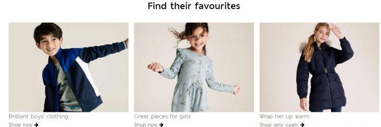 Kids clothing at Marks and Spencer