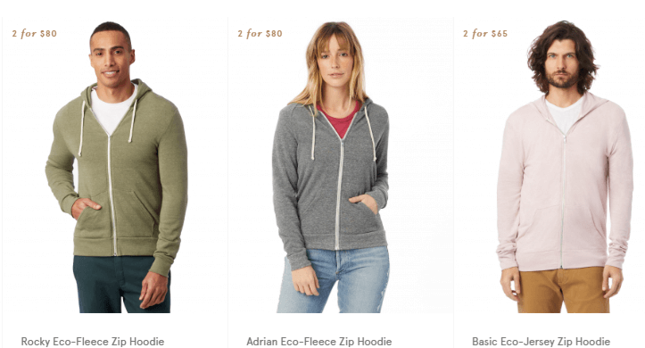 Sustainable clothing by Alternative Apparel