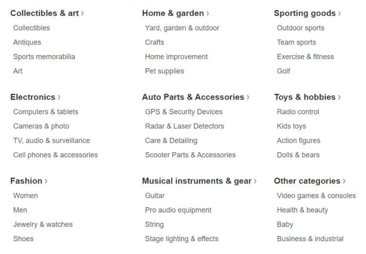 Main product categories at eBay