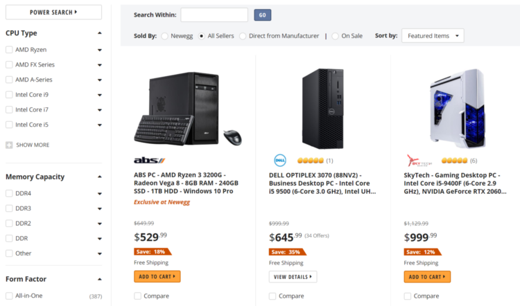 Newegg desktop computers