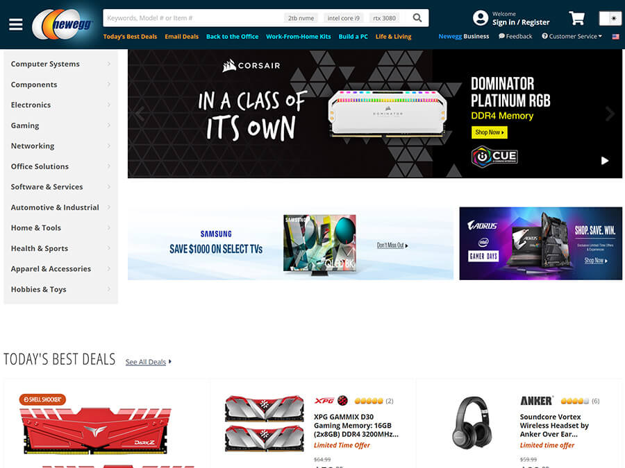 Newegg screenshot