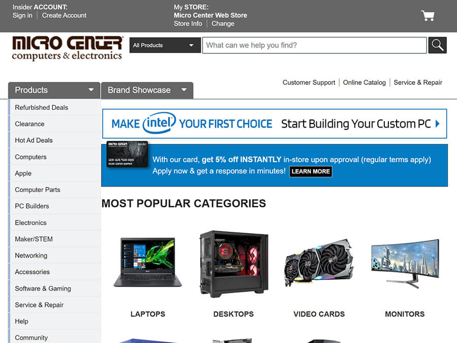 Micro Center screenshot
